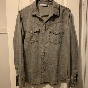 Grey Cotton Zara shirt